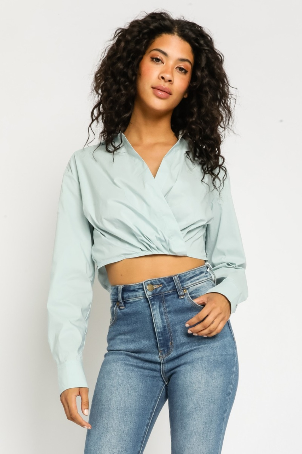 Olivaceous  Collared Cropped Blouse - Main Image