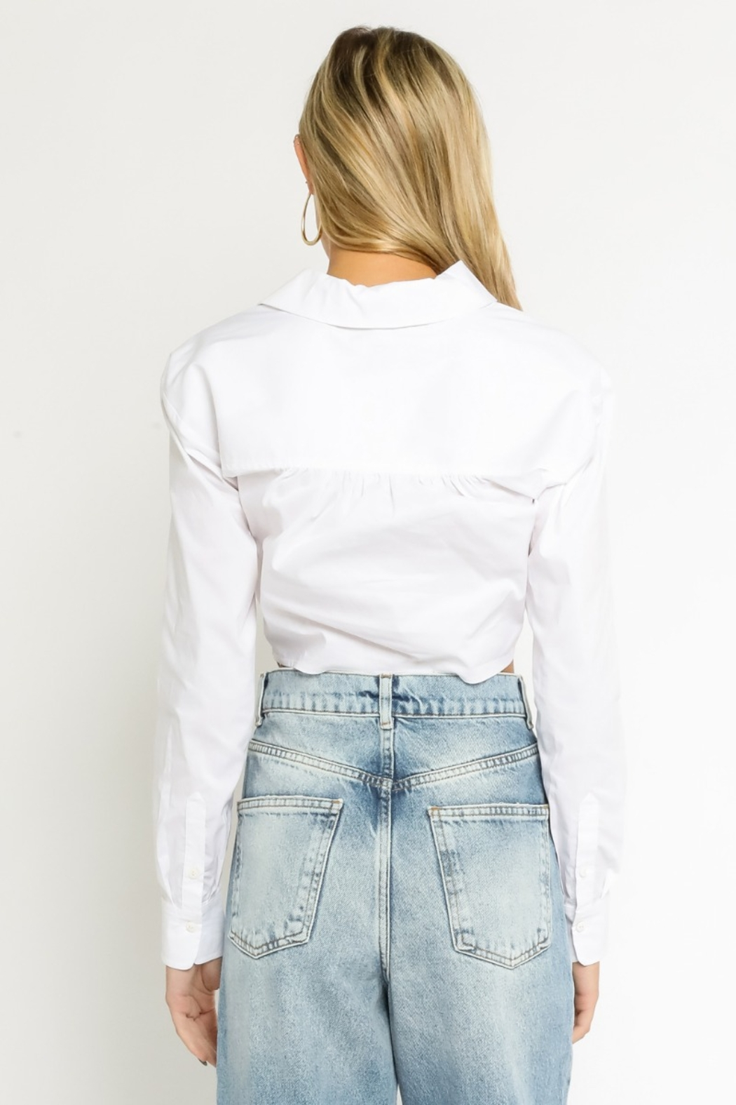 Olivaceous  Collared Cropped Blouse - Back Cropped Image