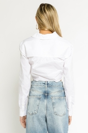 Olivaceous  Collared Cropped Blouse - Back cropped