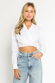 Olivaceous  Collared Cropped Blouse - Front cropped