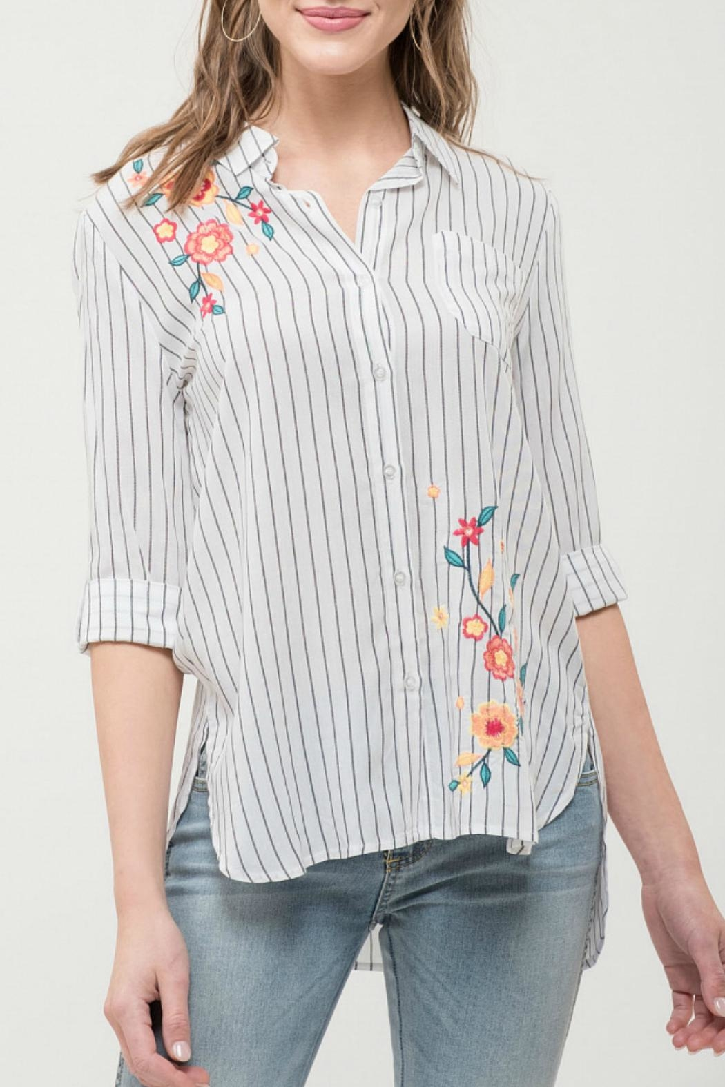 Blu Pepper Collared Embroidered Top - Main Image