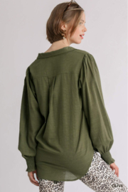 umgee  Collared Long Sleeve Top With Smocked Cuff - Product Mini Image
