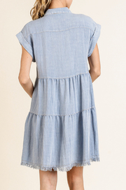 Umgee  Collared Ruffle Dress - Front full body