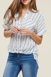 Staccato Collared Striped Top - Front cropped
