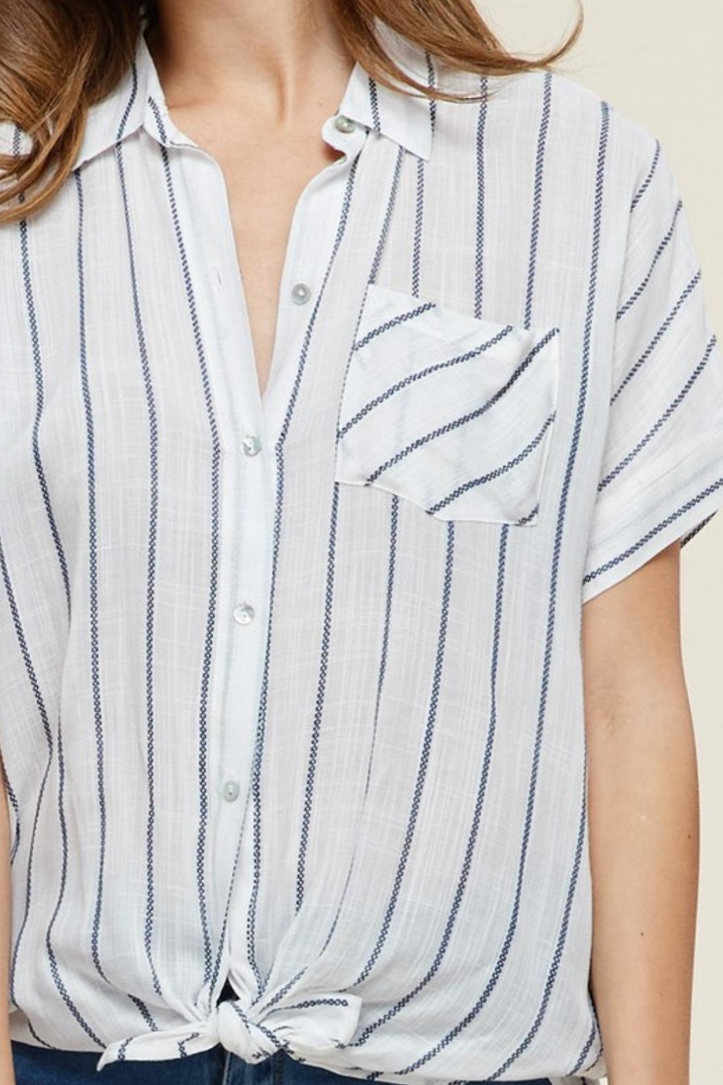 Staccato Collared Striped Top - Side Cropped Image