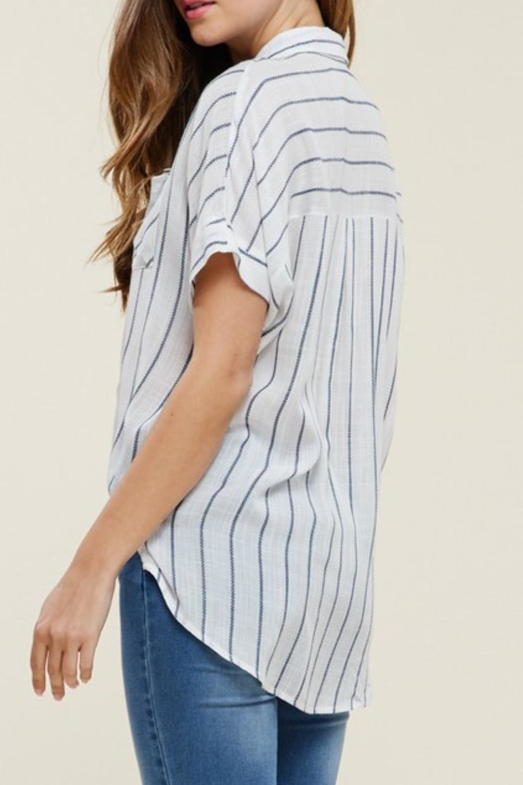 Staccato Collared Striped Top - Back Cropped Image
