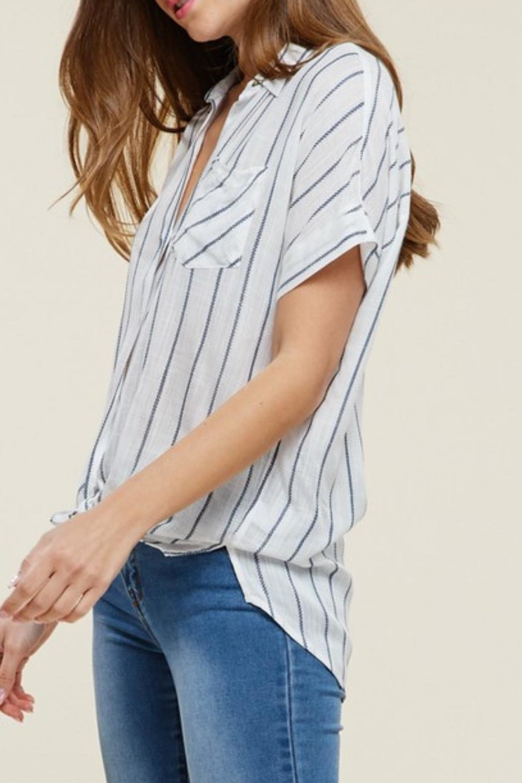 Staccato Collared Striped Top - Front Full Image