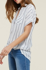 Staccato Collared Striped Top - Front full body