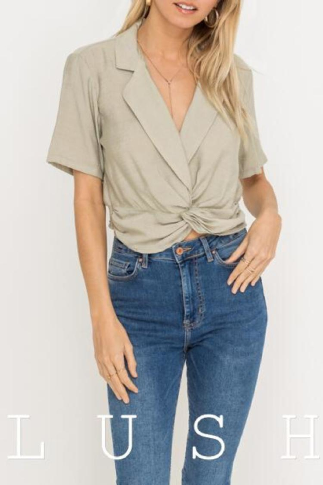 Lush Collared Twist-Front Top - Main Image