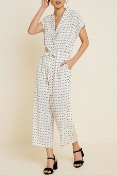 Hayden Los Angeles Collared Wide-Leg Print-Jumpsuit - Product List Image