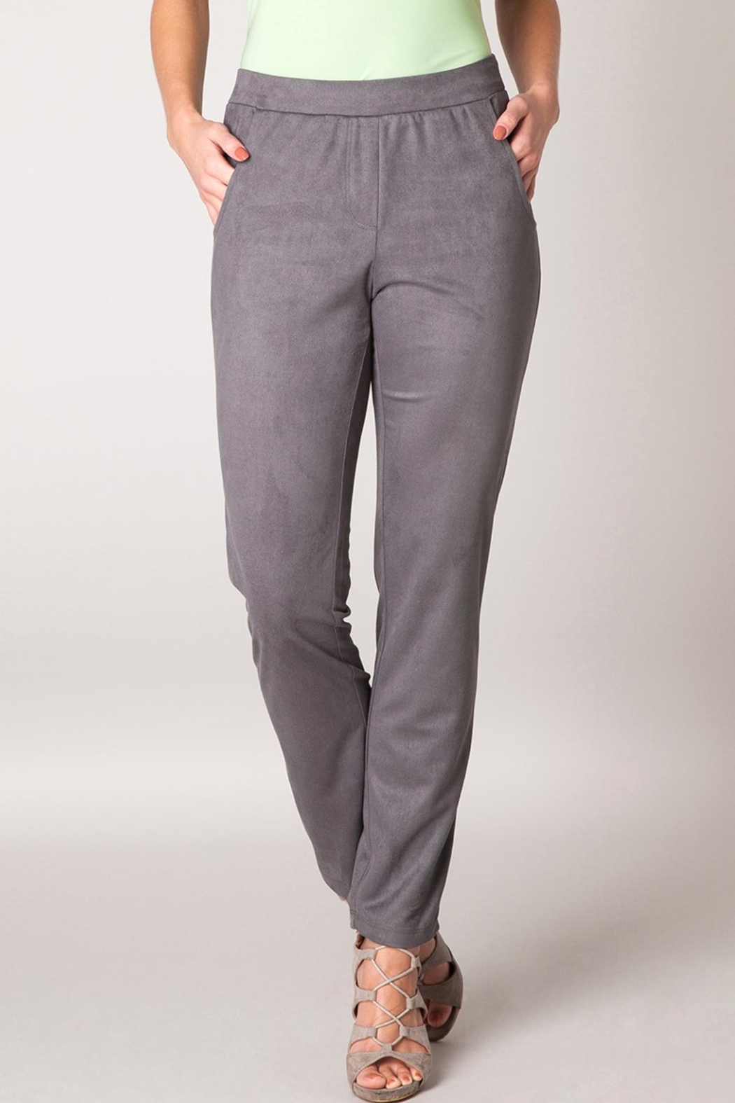 Colleta Grey Suede Pants - Front Cropped Image