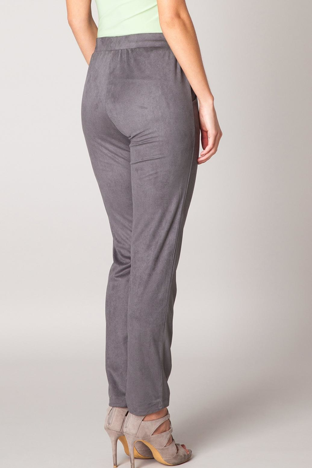 Colleta Grey Suede Pants - Front Full Image