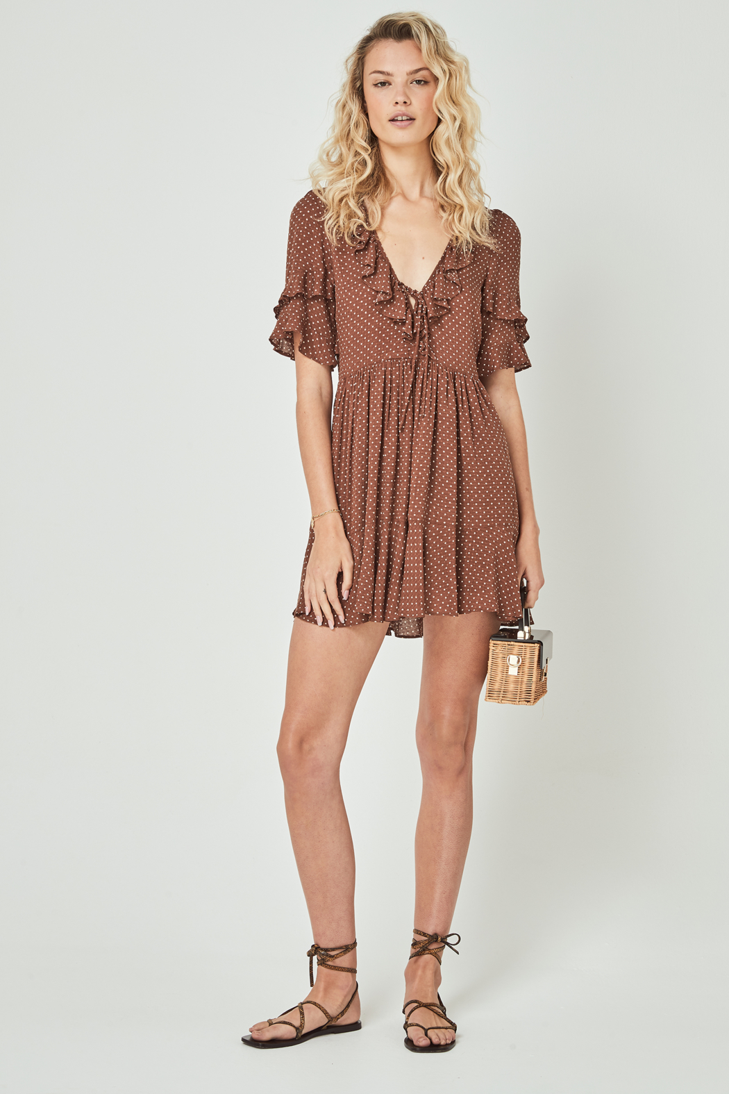 Auguste The Label  Collins Frida Mini Dress Brown - Back Cropped Image