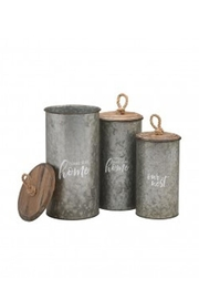 Collins Paintings Galvanized Canister Set - Front cropped