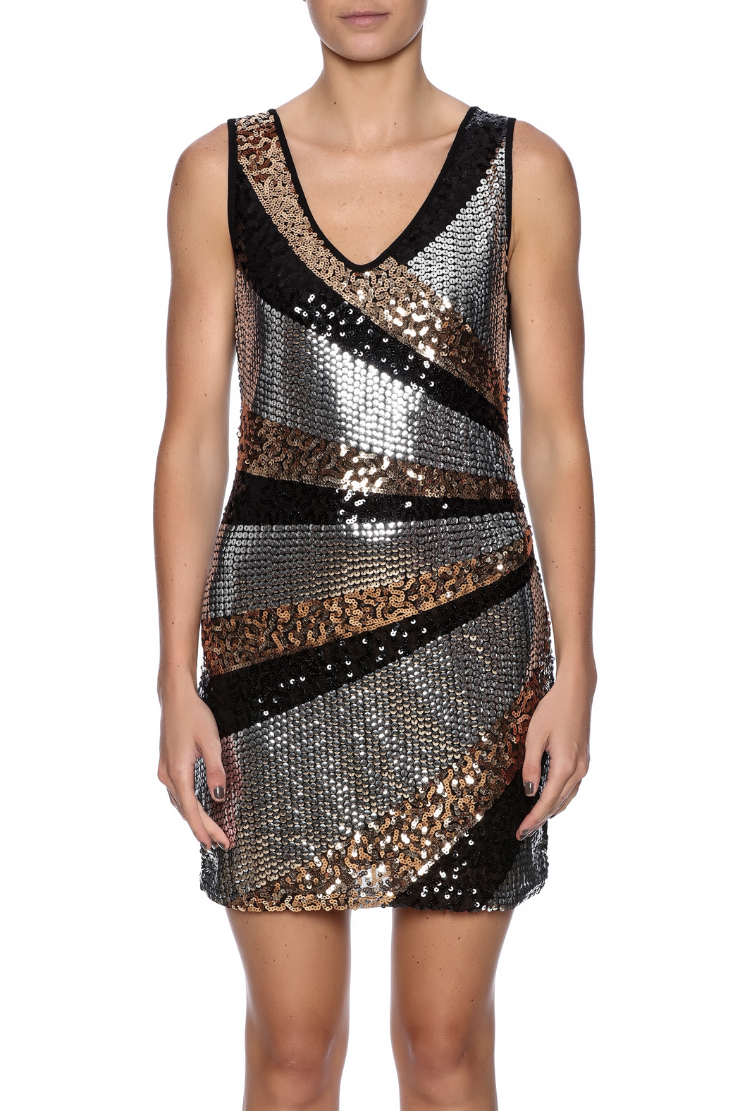 Color 5 Sequin Tank Dress - Side Cropped Image