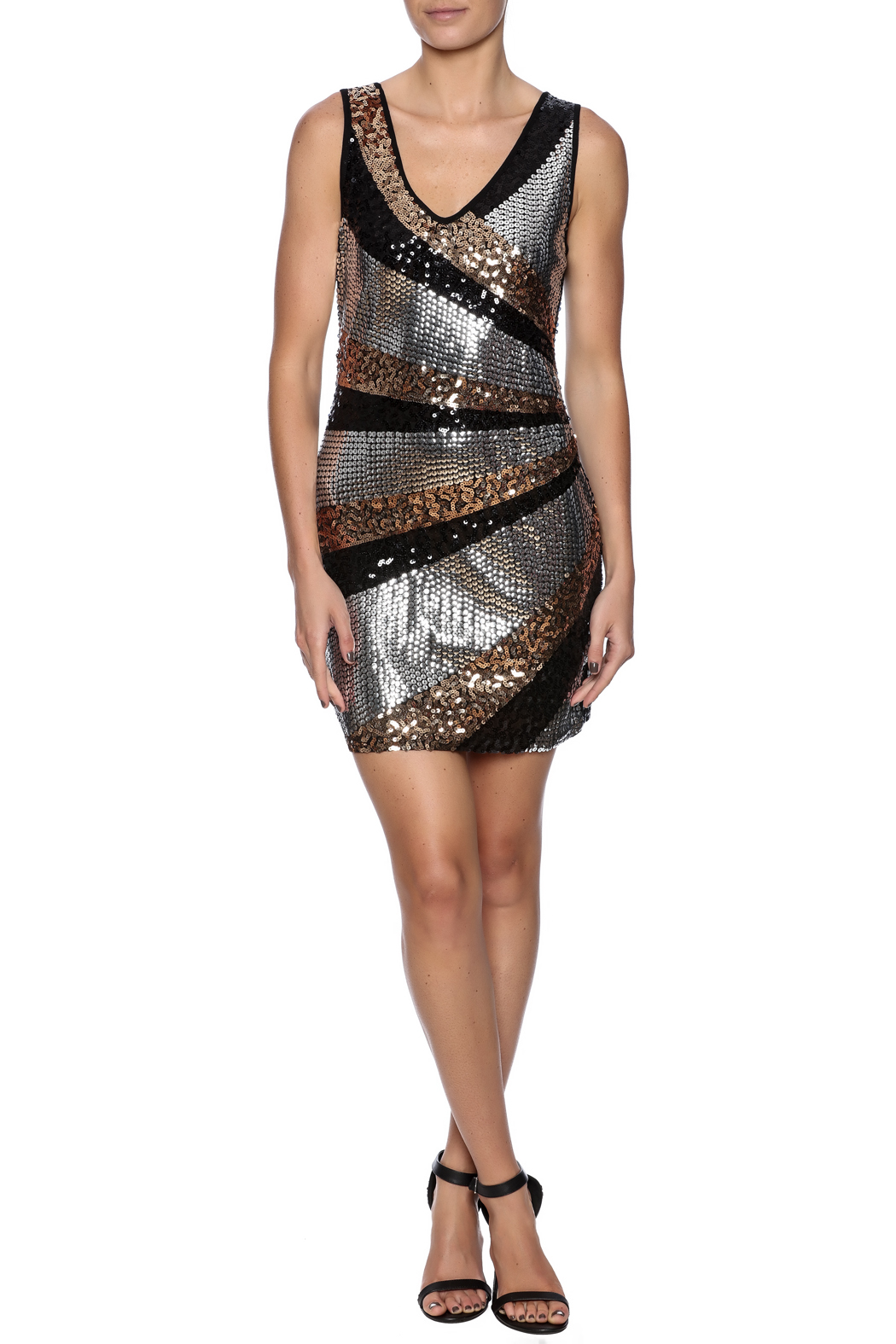 Color 5 Sequin Tank Dress - Front Full Image