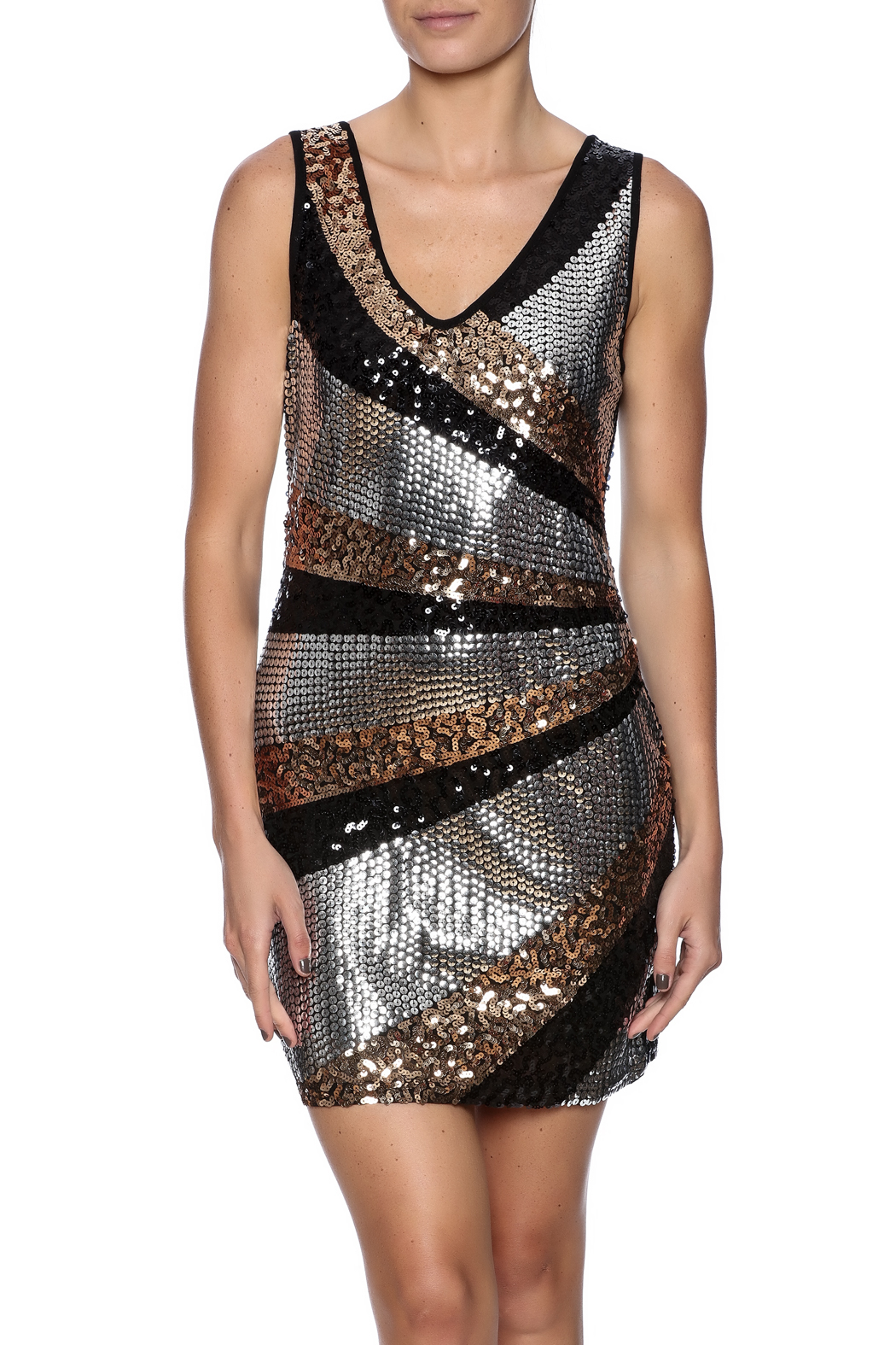 Color 5 Sequin Tank Dress - Front Cropped Image