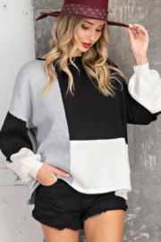 143 Story Color Block Boatneck Sweater - Product Mini Image