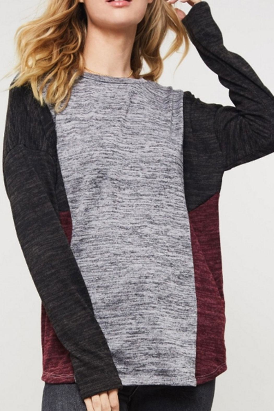 Promesa USA Color-Block Brushed Top - Front Cropped Image