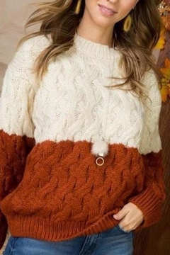 Main Strip Color-Block Cable-Knit Sweater - Product List Image