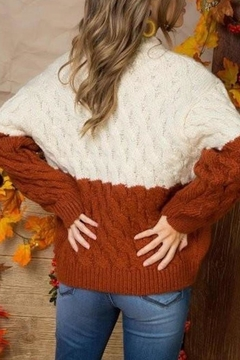 Main Strip Color-Block Cable-Knit Sweater - Alternate List Image