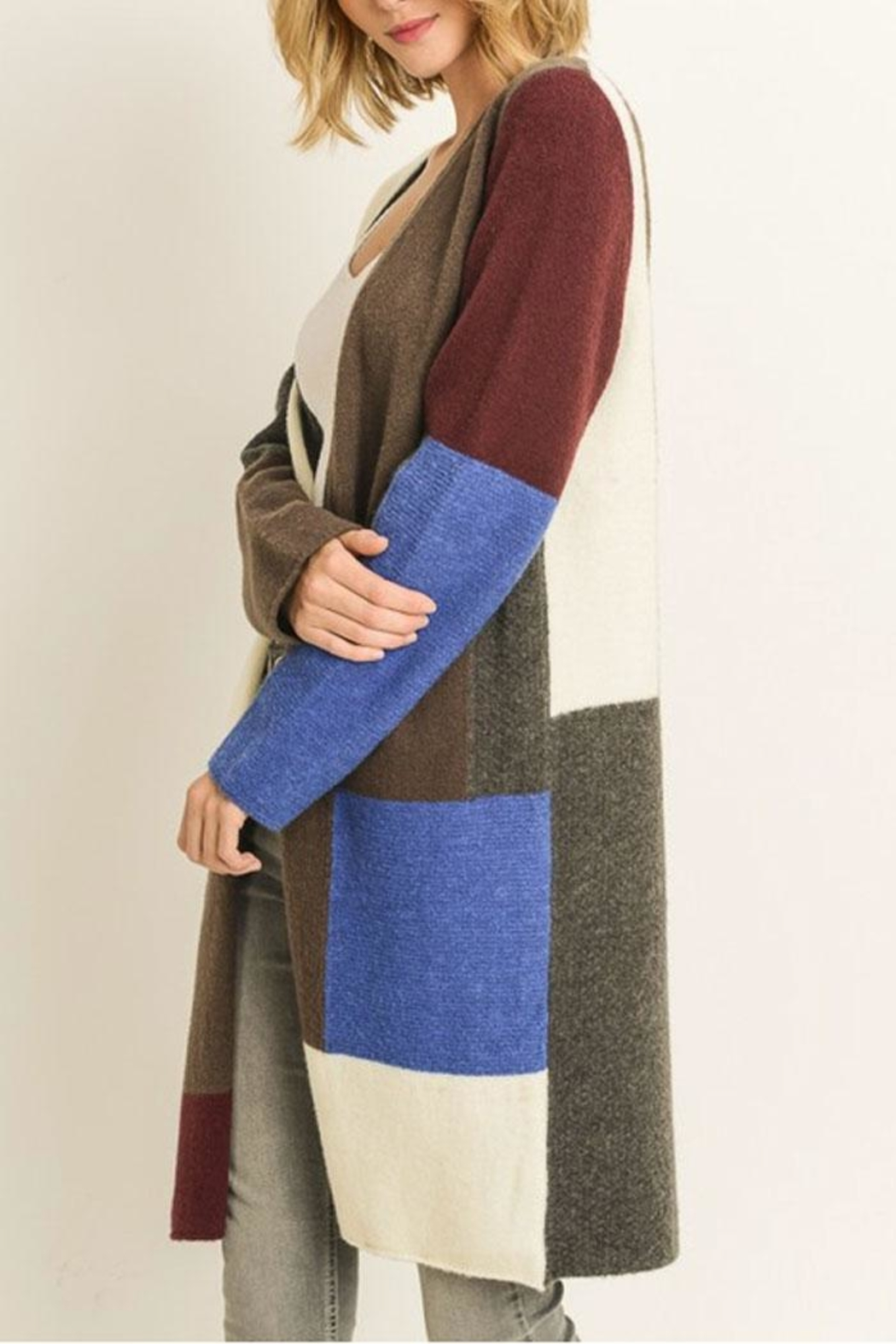 Le Lis Color-Block Cardigan - Front Full Image