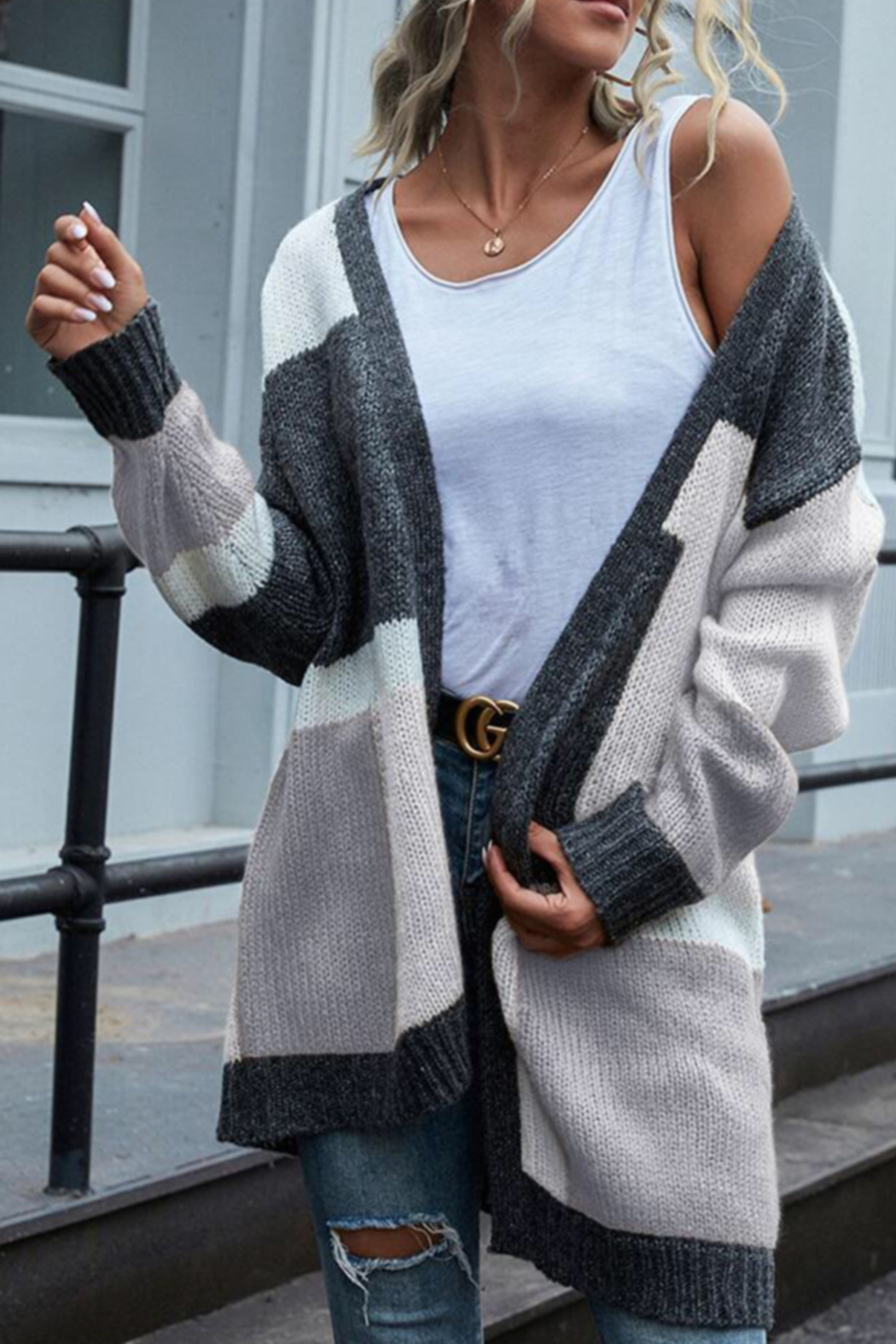 She and Sky color block cardigan - Main Image