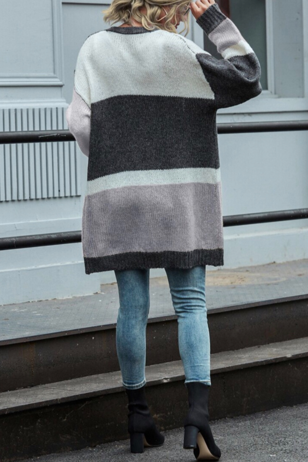 She and Sky color block cardigan - Front Full Image