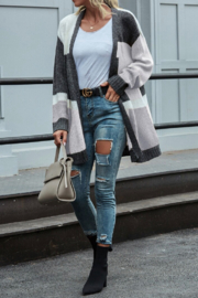 She and Sky color block cardigan - Back cropped