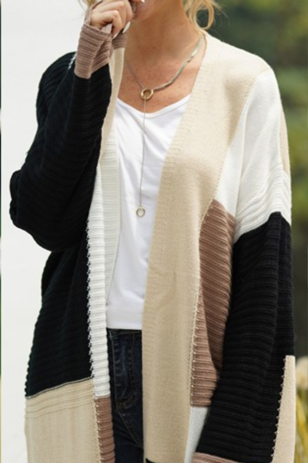 lily clothing Color Block Cardigan - Main Image