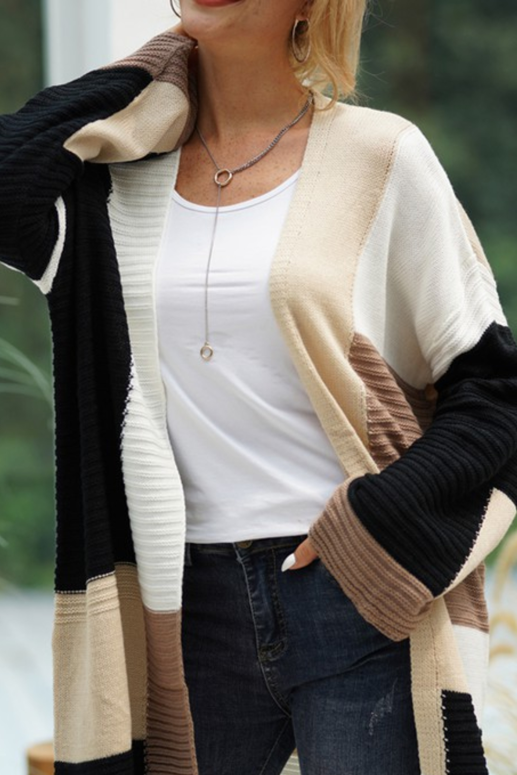 lily clothing Color Block Cardigan - Front Full Image