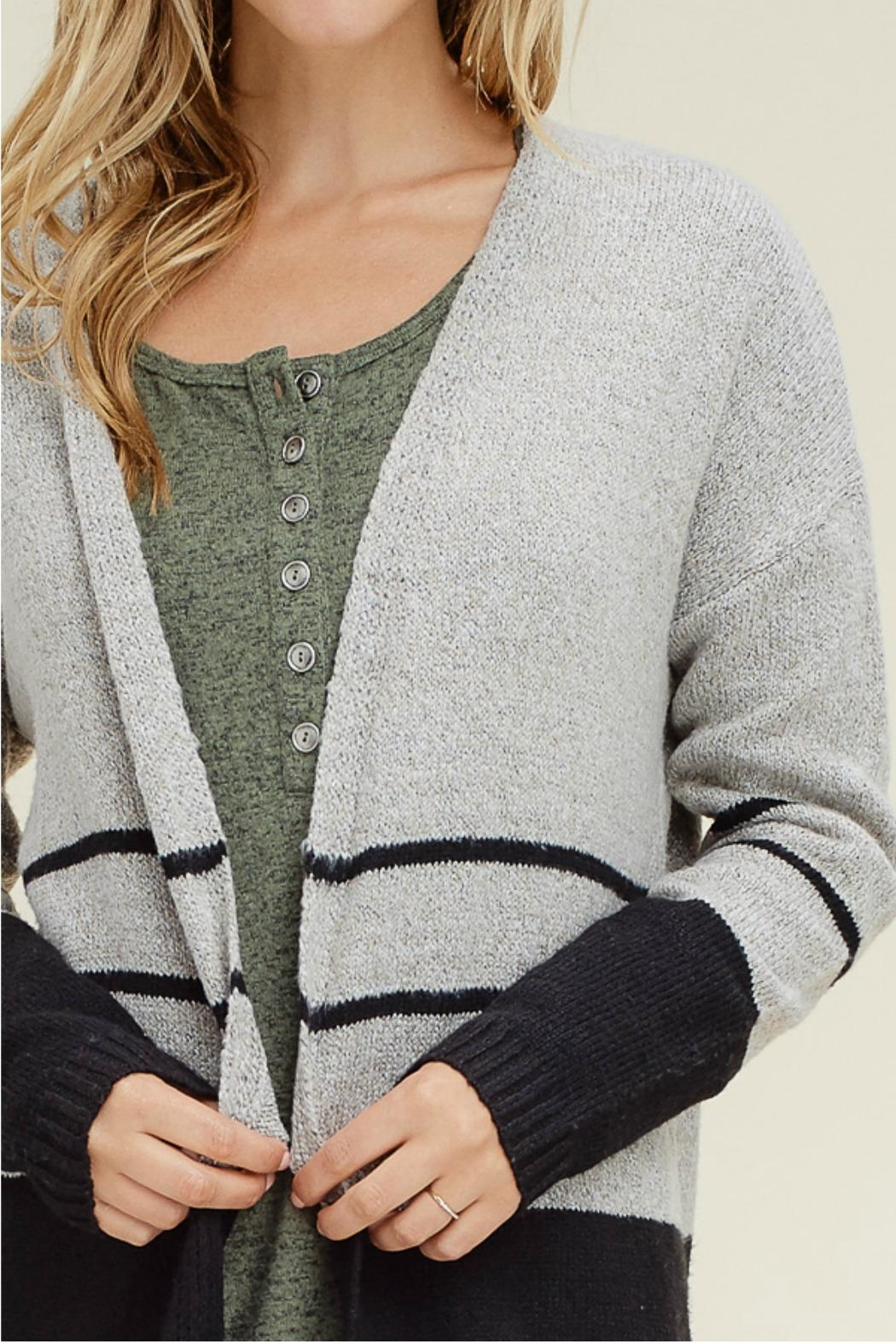 Staccato Color Block Cardigan - Back Cropped Image