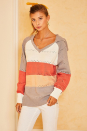 main strip  Color Block Crochet Hooded Sweater - Front cropped