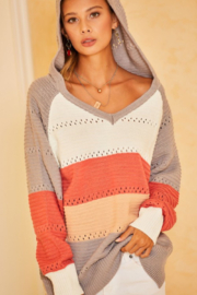 main strip  Color Block Crochet Hooded Sweater - Side cropped