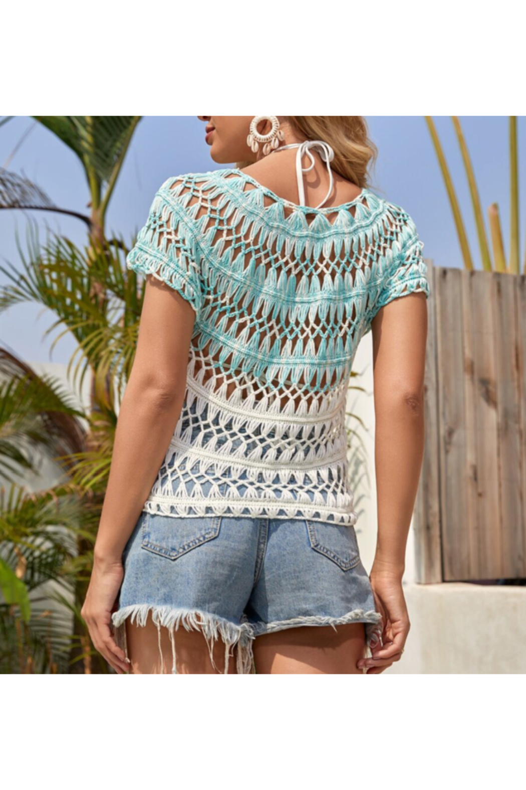 Wona Trading Color block crochet top - Front Full Image