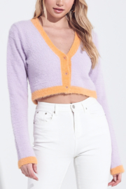 blue blush Color Block Cropped Sweater - Product Mini Image