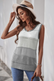 Shewin  Color Block Knitted Tank Top - Product Mini Image