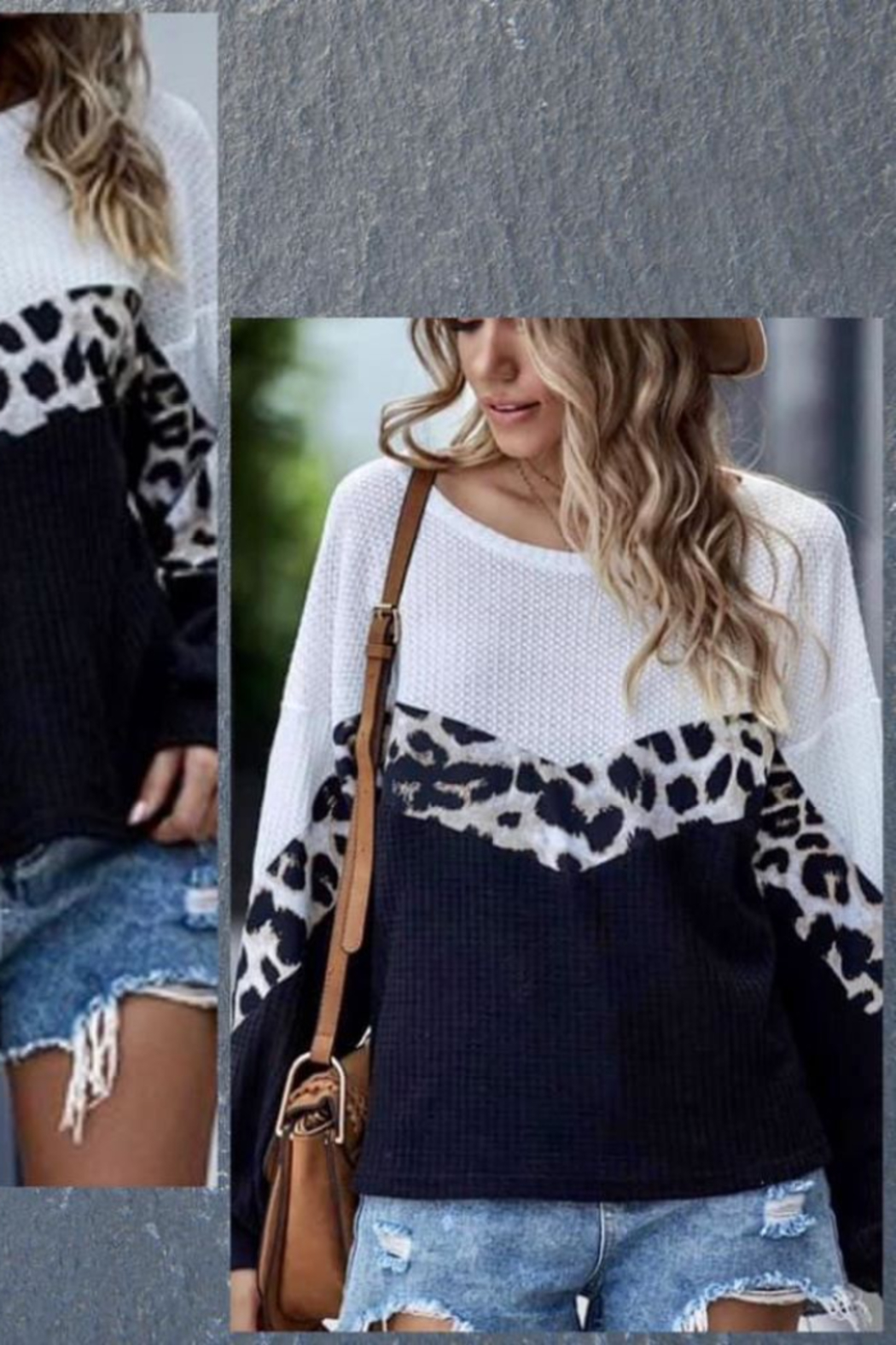 Shewin Color Block Leopard Waffle Top - Front Full Image