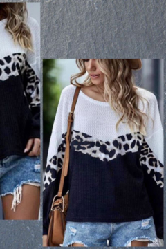Shewin Color Block Leopard Waffle Top - Alternate List Image