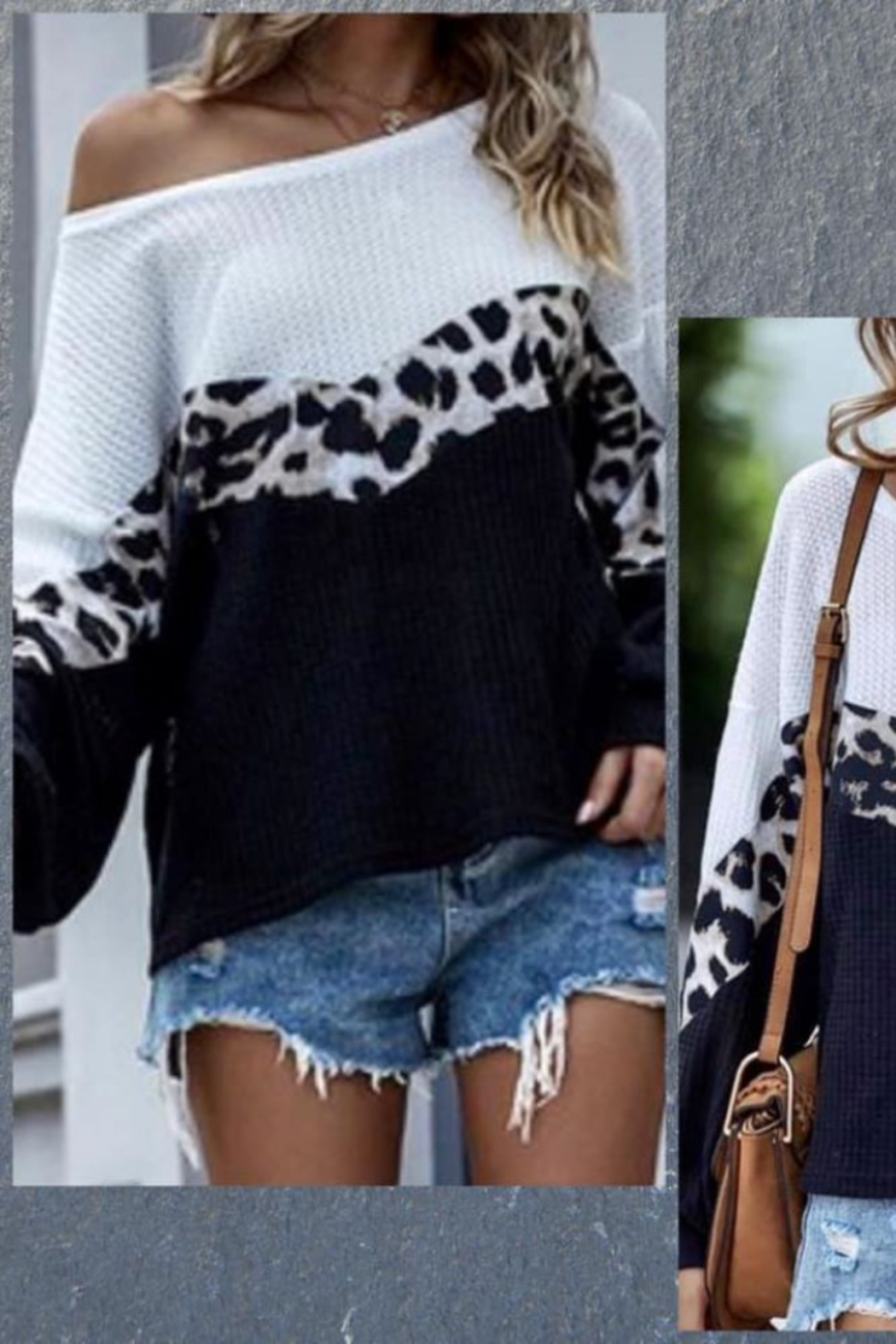 Shewin Color Block Leopard Waffle Top - Main Image