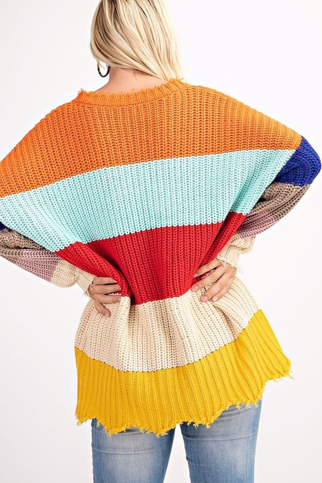 143 Story COLOR BLOCK LOOSE FIT SWEATER - Side Cropped Image