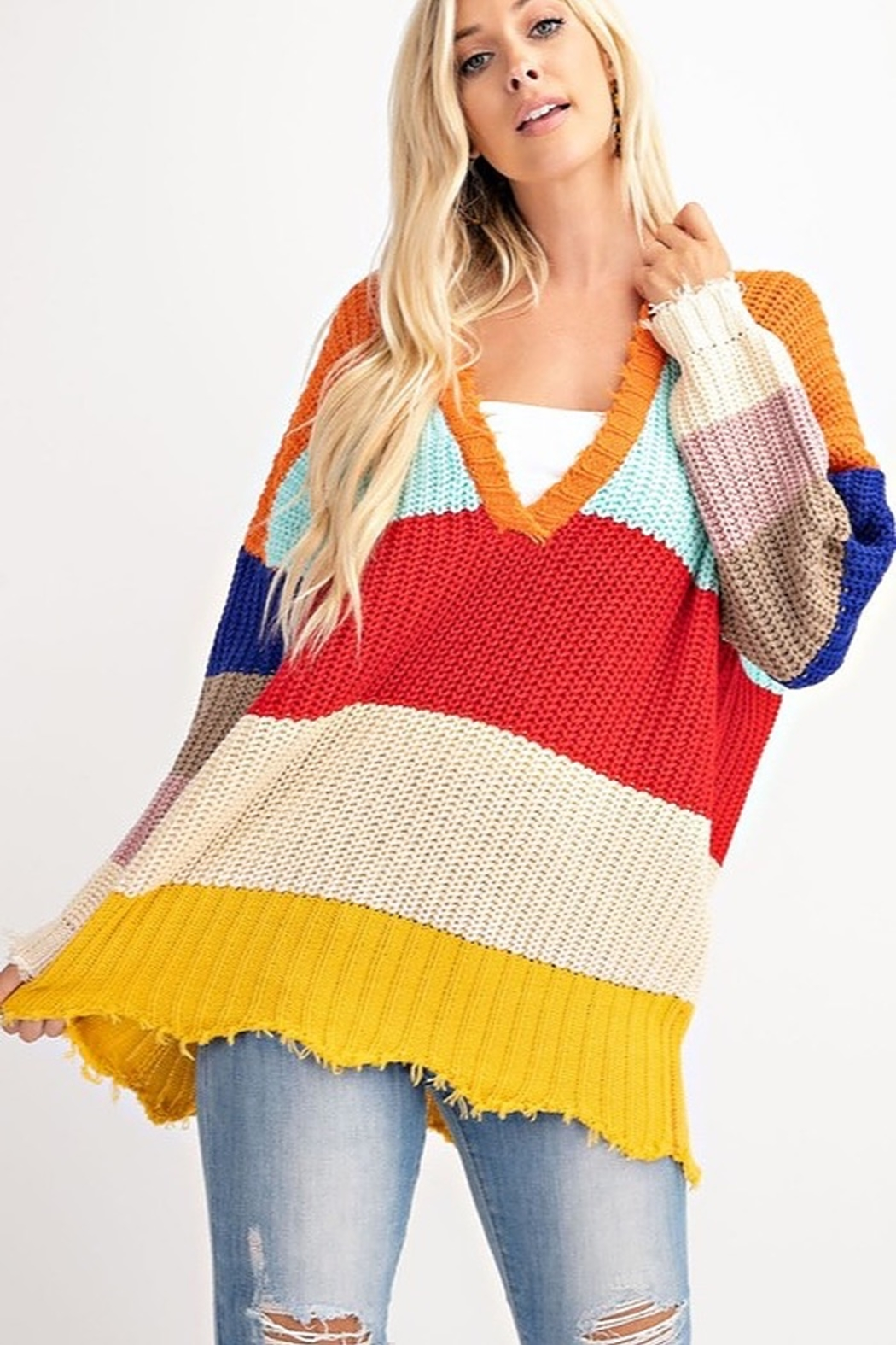 143 Story COLOR BLOCK LOOSE FIT SWEATER - Main Image