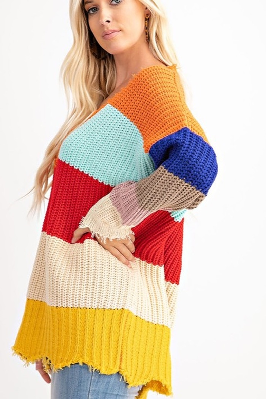 143 Story COLOR BLOCK LOOSE FIT SWEATER - Front Full Image