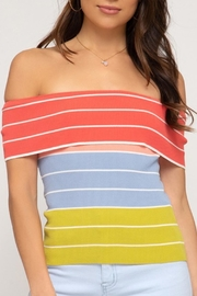 She + Sky Color-Block Off-Shoulder Top - Product Mini Image