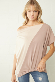 entro  Color Block Ribbed Off Shoulder Top - Product Mini Image