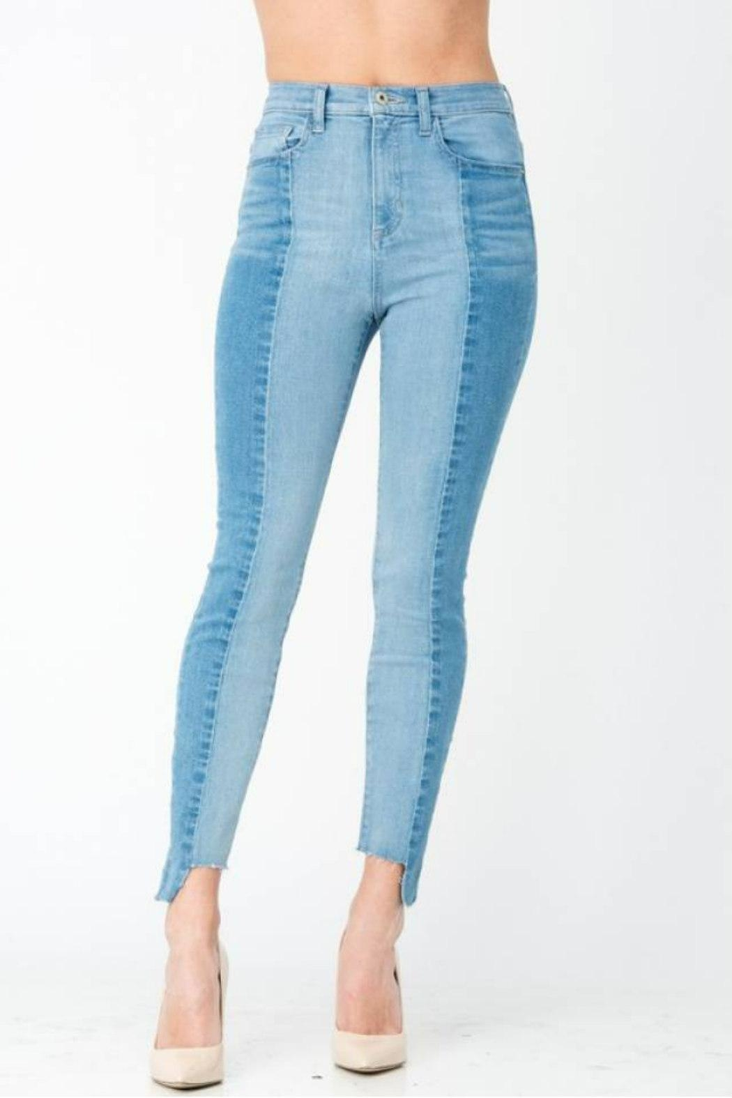 Sneak Peek Color-Block Skinny Denim - Side Cropped Image