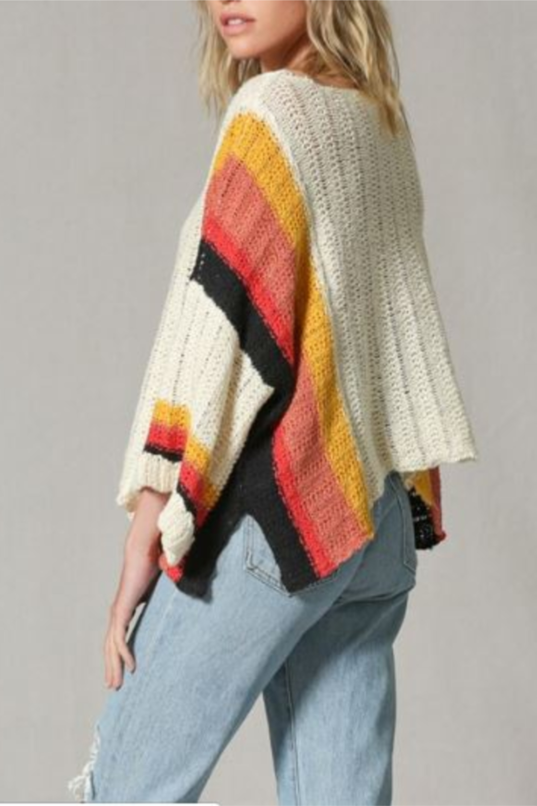 By Together Color Block Stripe Arm Sweater - Side Cropped Image