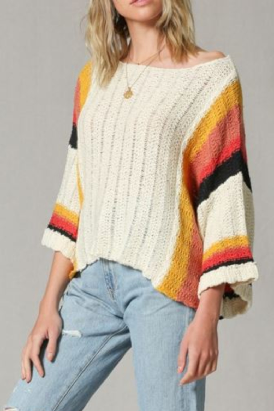 By Together Color Block Stripe Arm Sweater - Front Full Image