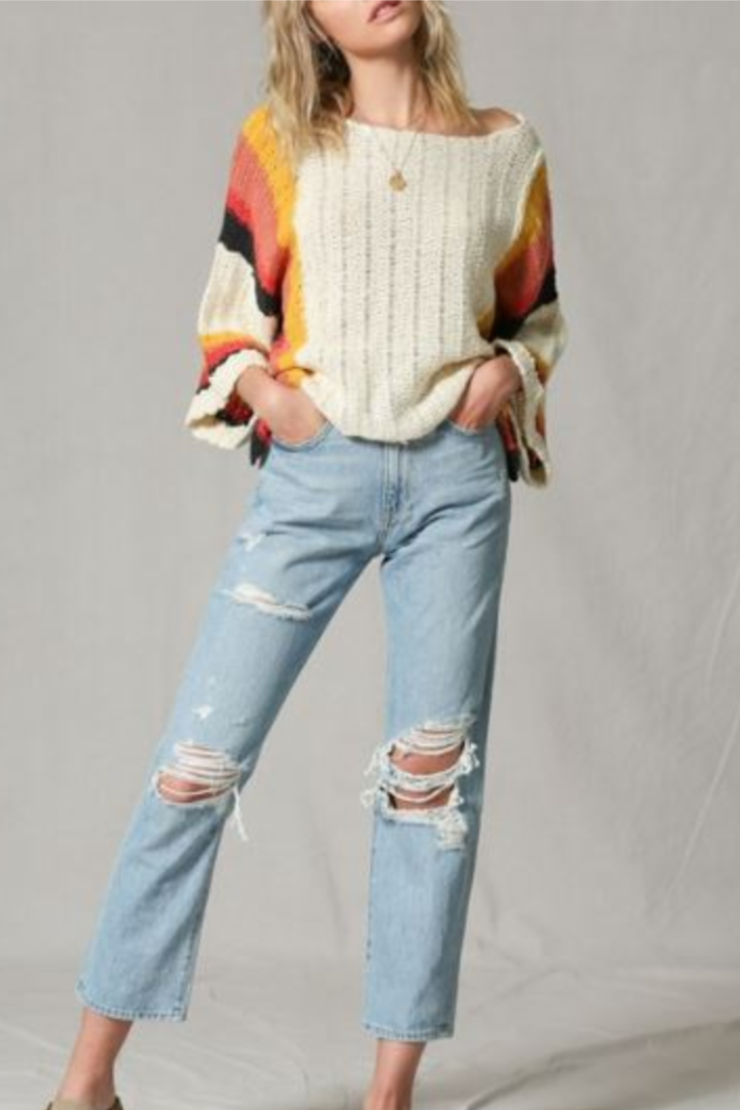 By Together Color Block Stripe Arm Sweater - Main Image