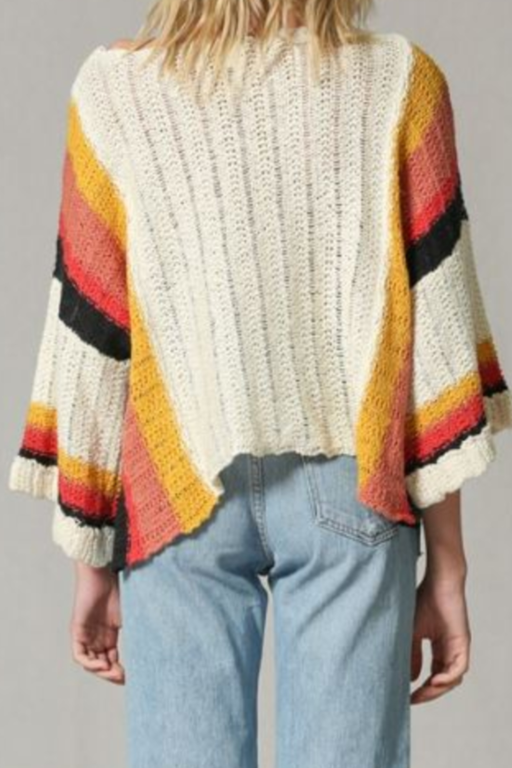 By Together Color Block Stripe Arm Sweater - Back Cropped Image